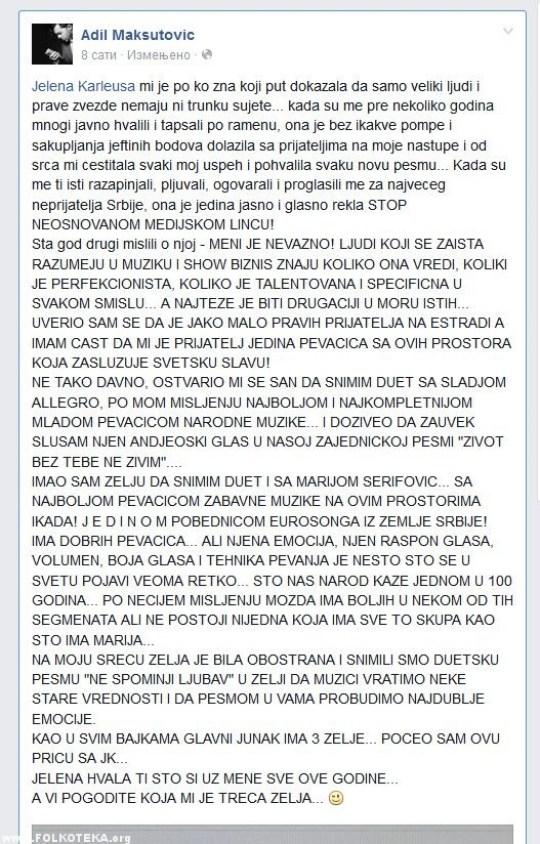 adil maksutovic - fejsbuk status