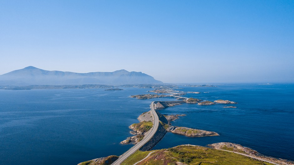 Aerial drone shot of the amazing and world famous Atlantic Road in Norway.