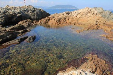 色彩繽紛的海岸岩石