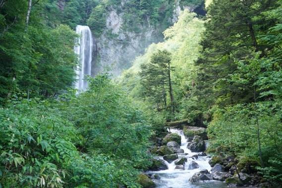 瀑布前的溪流