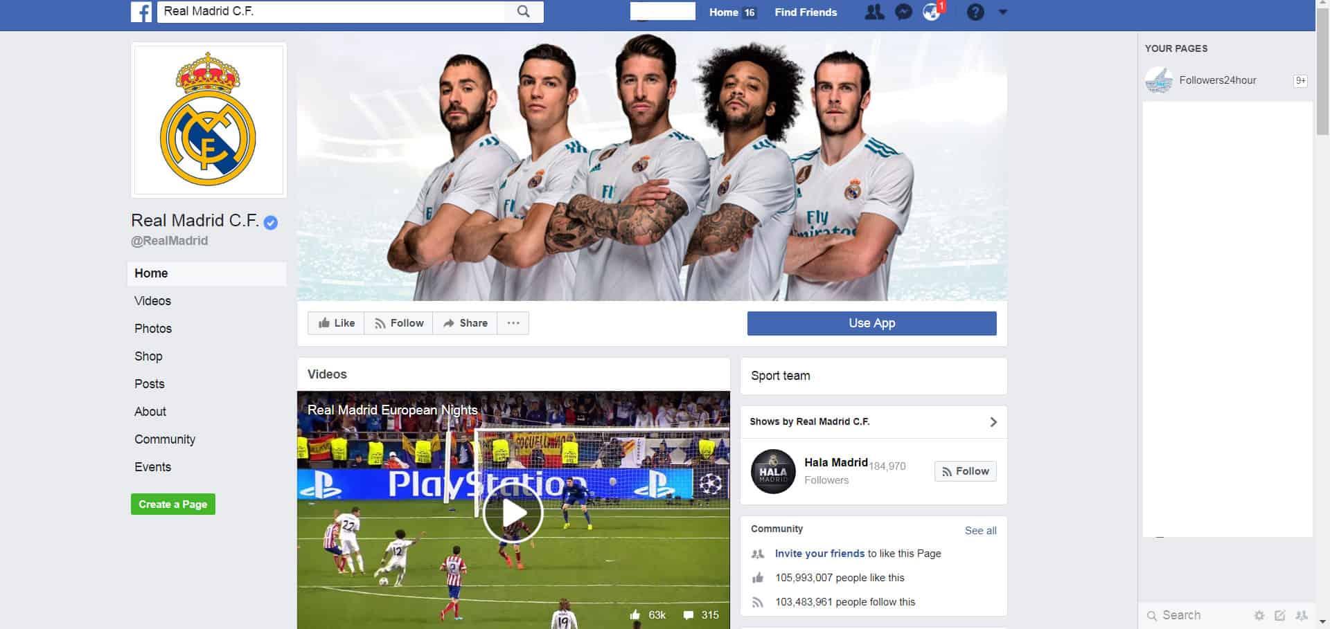 real madrid facebook