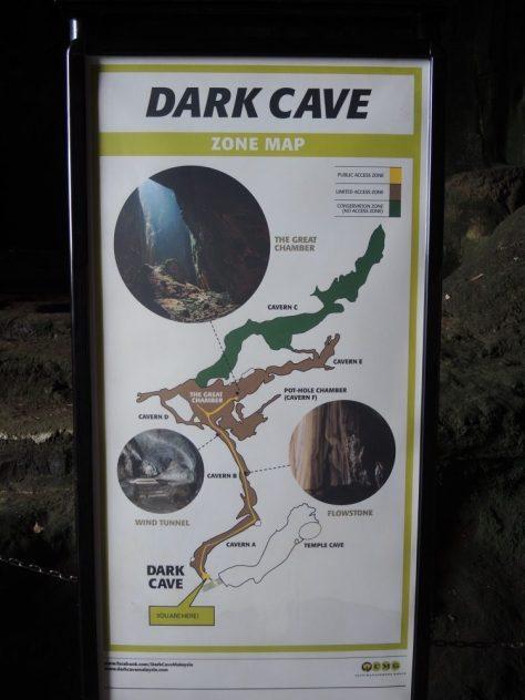 Gelb: unsere 2 Kilometer lange Tour durch die Höhle. Der grüne Bereich bleibt als Schutzzone unzugänglich.