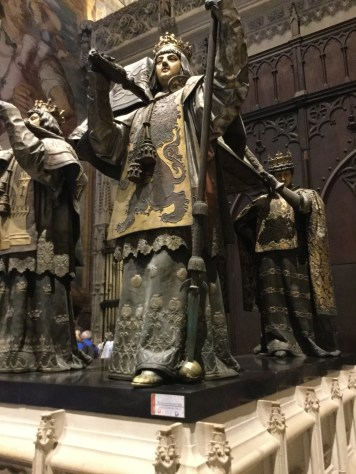 Christopher Columbus insisted that he not be buried in the soil of Spain. Apparently, there was an issue of payment between Queen Isabella and Christopher Columbus. It was decided to elevate him above Spanish soil.