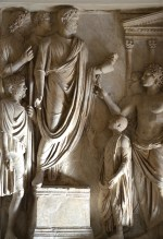 Relief from the Arch of Portugal (Arco di Portogallo): Hadrian's donation of food to Roman children, Palazzo Nuovo, Capitoline Museums