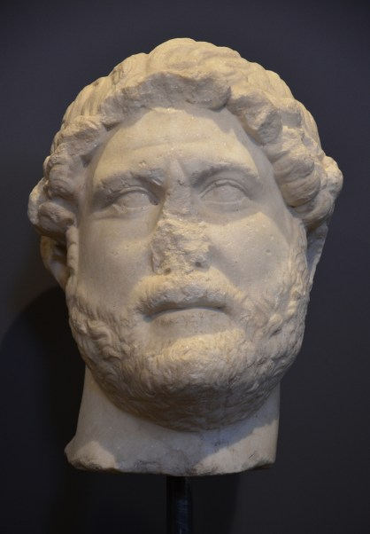 Marble head of Hadrian, from Italy, 128 AD, type: Imperatori 32, Museo Civico, Fossombrone, Italy