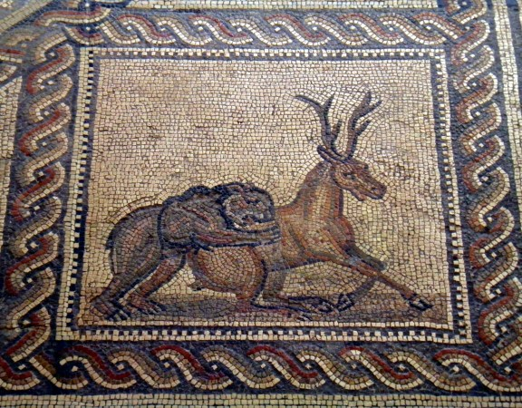 Detail of the Gladiator mosaic floor depicting an animal fight, 3rd century AD, Römerhalle, Bad Kreuznach Germany