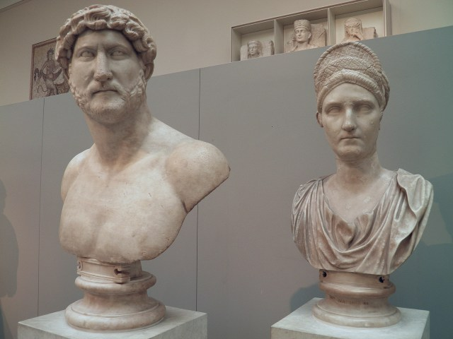 Portrait busts of Emperor Hadrian (AD 117-138) and his 2nd cousin Salonina Matidia (niece and adoptive daughter of Trajan), British Museum © Carole Raddato