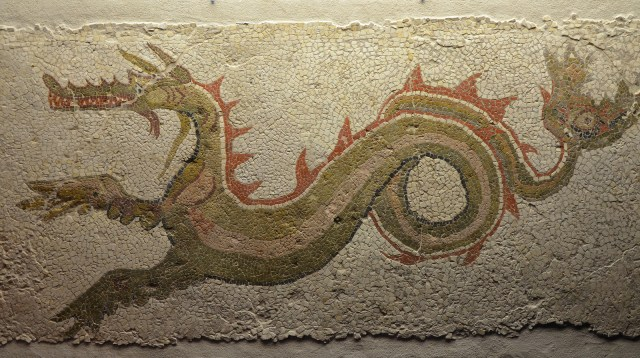 Mosaic with Ketos (sea serpent), 3rd century AD, from Italy, Monsters. Fantastic Creatures of Fear and Myth Exhibition, Palazzo Massimo, Rome © Carole Raddato