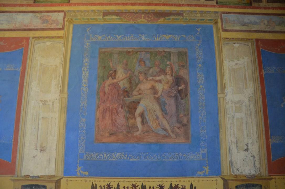 Painting from the Tablinum, Minerva Preventing Achilles from Killing Agamemnon, Pompeiianum, Aschaffenburg, Germany © Carole Raddato