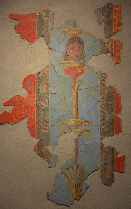 Fresco fragment in the Third Pompeian Sytle with candelabra on blue background and theatre mask, from a domus in Aquae Sextiae (Aix-en-Provence), ca. 50-70 AD Empire of colour. From Pompeii to Southern Gaul, Musée Saint-Raymond Toulouse © Carole Raddato