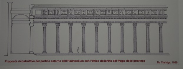 Reconstruction drawing by Amanda Claridge (1999) of the portico surrounding the Temple of the Deified Hadrian (Hadrianeum) which was decorated with the 'Provinces' reliefs