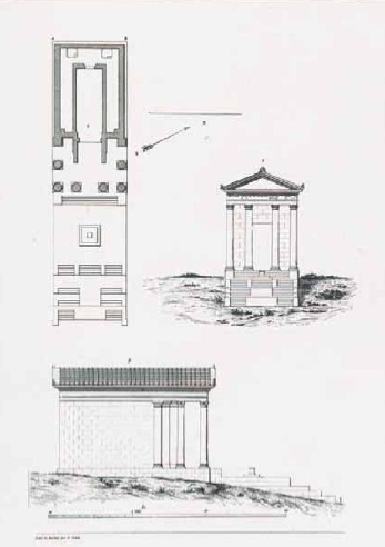 A drawing of of the temple of Antas like it might have looked