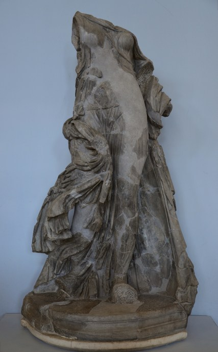 Statue in made in dark grey marble (bigio antico) known as the Victory of the Symmachi, probably representing a dancing woman Centrale Montemartini, Rome
