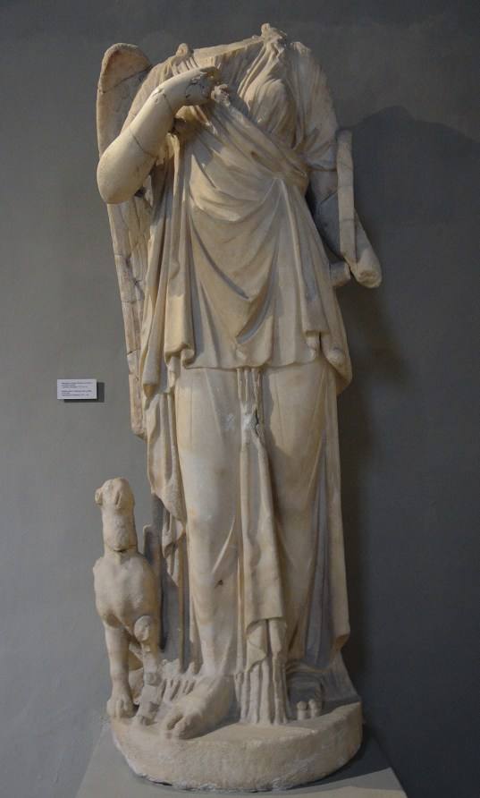 Statue of Nemesis with a griffin at her feet, from the Gymnasium of Salamis, 2nd century AD, Cyprus Museum, Nicosia, Cyprus