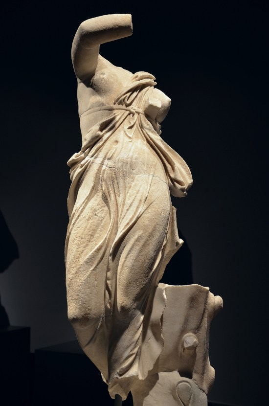 Dancing female figure, thought to be a portrait of Praxilla of Sikyon (a Greek lyric poet), from the portico of the pecile at Hadrian's Villa, 117 - 138 AD, Palazzo Massimo alle Terme, Rome