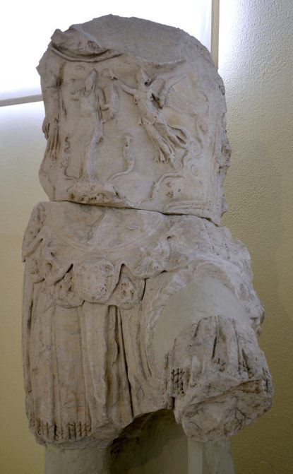 Torso of a colossal statue of Hdrian wearing a breastplate, Archaeological Museum of Piraeus, Greece.