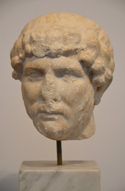 Marble head of Hadrian from Mérida (Spain).