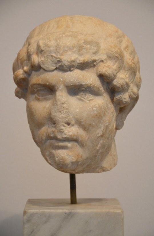 Marble head of Hadrian from Mérida (Spain).