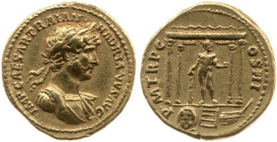 Gold coin of Hadrian with the image of Hercules standing in a temple on the reverse. © The Trustees of the British Museum