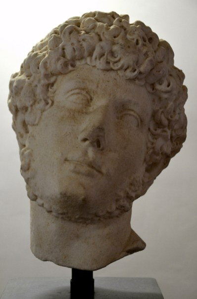 Head of Hadrian as a young man sculpted toward the end of his reign, found at Hadrian's Villa in Tivoli.