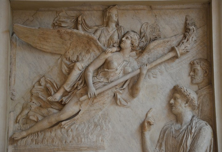 Relief from the Arc of Portugal (Arco di Portogallo) representing the apotheosis of Sabina. AD 136-138: Palazzo Nuovo, Capitoline Museums.