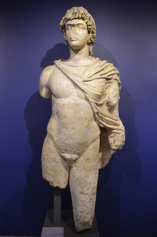 Limestone statue of Antinous as a hunter, found in the sea, AD 130-138, Mougins Museum of Classical Art, France