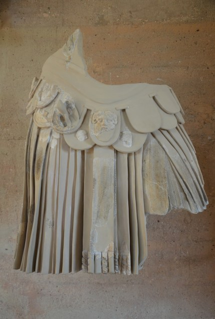Statue of Hadrian in armour (what remains of it), from the Odeon of Corinth, partly reconstructed, Archaeological Museum of Ancient Corinth