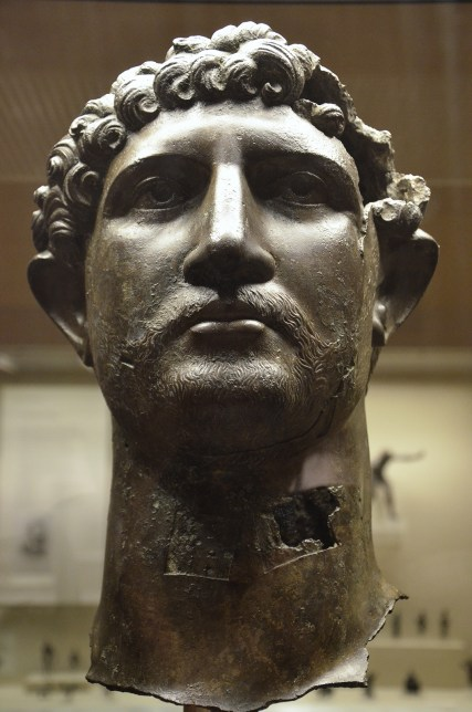 Bronze head from a statue of the Emperor Hadrian, Romain Britain, British Museum