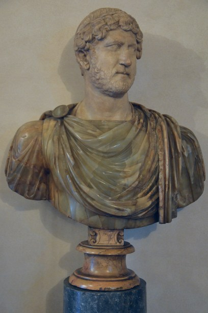 Marble head of Hadrian on a bust in alabaster from the Antonine period (type: Rollockenfrisur), Musei Capitolini, Rome