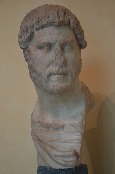 Bust portrait of Emperor Hadrian, the bust portrays Hadrian as an elderly man, around AD 130, from the Horti Tauriani, Musei Capitolini, Rome