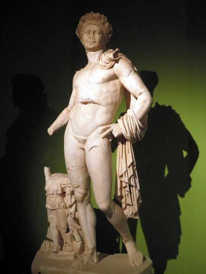 Naked statue of Hadrian wearing the Corona Civica, reworked in the 3rd century, found in Perge in 1992 in front of the stage of the Theatre, Antalya Museum