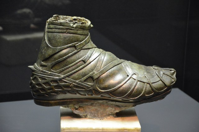 Roman military footwear: Bronze caliga from an over life-size statue of a Roman cavalryman