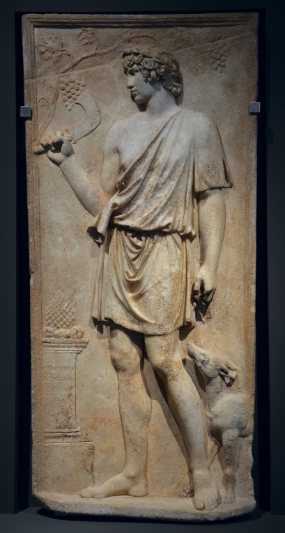 Antinous as Silvanus (god of woods and fields), harvesting grapes, marble relief, 130–138 AD, from Torre del Padiglione, Palazzo Massimo alle Terme, Rome