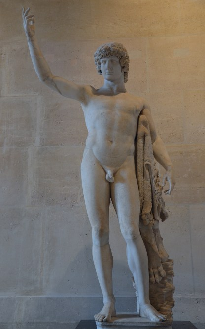 """So-called """"Braschi Antinous"""", the statue is composed of an antique head of Antinous and an antique body of Hercules, 2nd century AD, Louvre Museum"""
