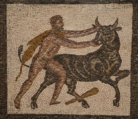 Detail of the Mosaic with the Labors of Hercules (Seventh Labour: Cretan Bull), 3rd century AD, found in Llíria (Valencia), National Archaeological Museum of Spain, Madrid
