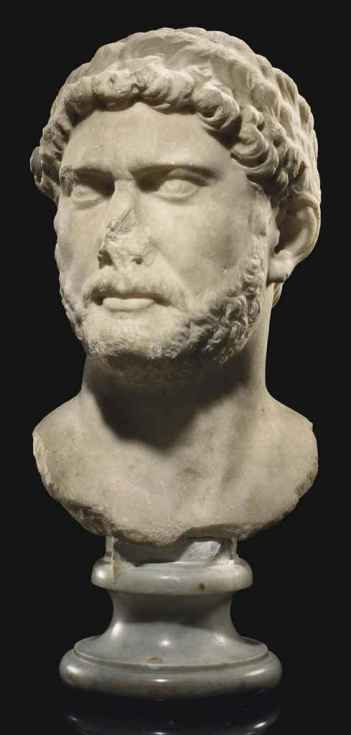 A ROMAN MARBLE PORTRAIT BUST OF THE EMPEROR HADRIAN Christie's - 9 June 2011, New York, Rockefeller Center http://www.christies.com/lotfinder/Lot/a-roman-marble-portrait-bust-of-the-5443364-details.aspx