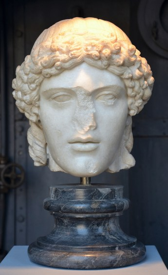 Head of Apollo, Roman copy of a Greek bronze original (460-455 BC).