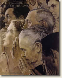 """Freedom to Worship"" by Norman Rockwell"