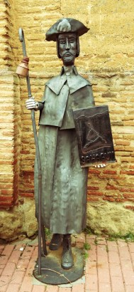 Pilgrim statue in front of our home for the night at Albergue Cluny (upper floor of the iglesia de la Trinidad) in Sahagun.