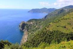 Monterosso Al Mare way in the distance and Corniglia above the train tunnel
