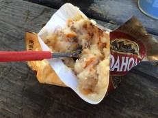 Idahoan potato with doritos, bacon bits and tabasco