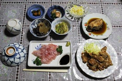 Dinner at Minshuku Shibayama, Owase, Iseji route