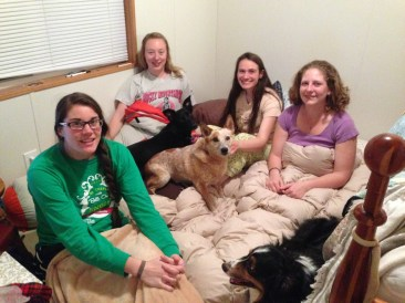 My bridesmaids and I in my bedroom, plus some dogs...