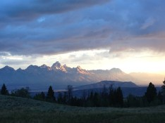 Sunrise view of Tetons at BT campsite in Aug 2016