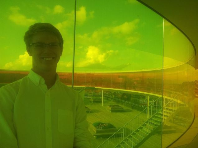 """Tommy inside the exhibit """"Your Rainbow Panorama."""""""