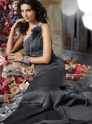 One Shoulder Sheath:Column Sleeveless Floor-Length Chiffon Evening Dress #VJ424