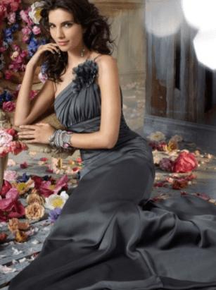 One Shoulder Sheath:Column Sleeveless Floor-Length Chiffon Evening Dress #VJ424