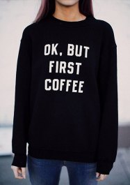 Casual Style Round Neck Long Sleeve White Letter Pattern Sweatshirt For Women