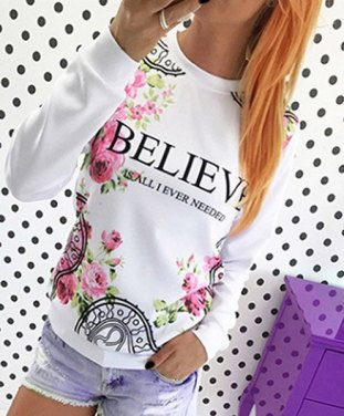 Fresh Style Jewel Neck Letter and Rose Print Pullover Sweatshirt For Women