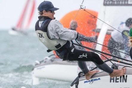 Hein sailing in Miami Olympic Class Regatta